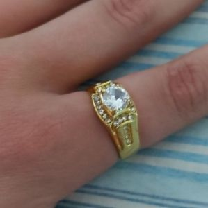 18K gold plated men's wedding engagement ring